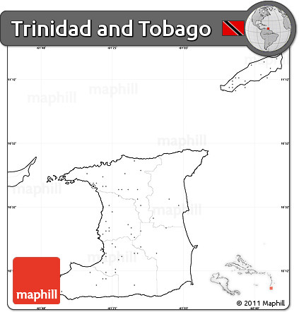 Free Blank Simple Map of Trinidad and Tobago, no labels