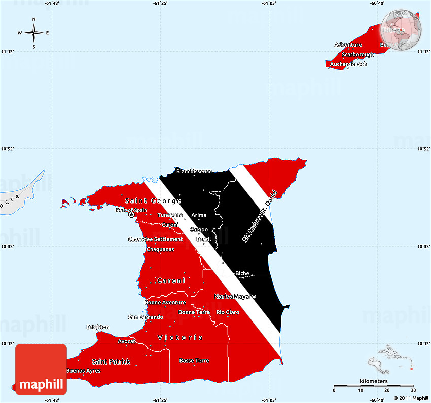 Flag Simple Map Of Trinidad And Tobago Single Color Outside Borders And Labels