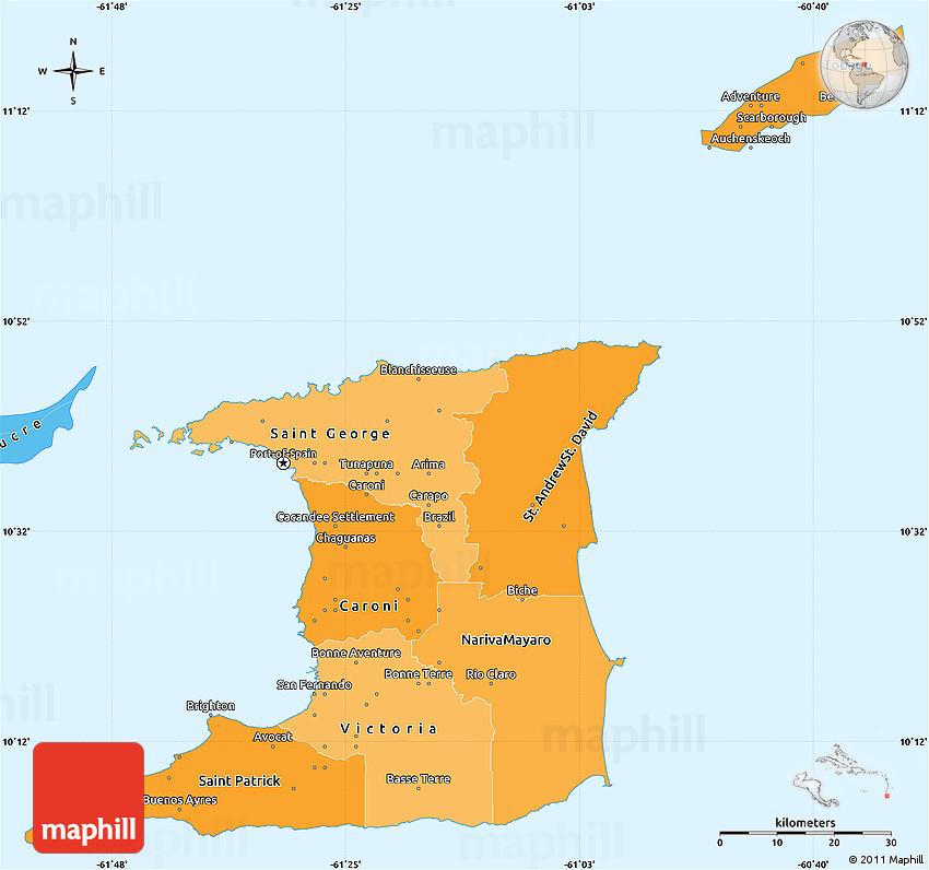 Political Shades Simple Map of Trinidad and Tobago
