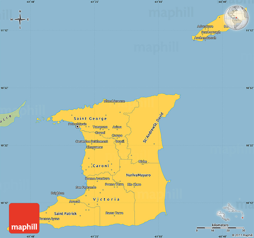Savanna Style Simple Map of Trinidad and Tobago