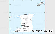 Silver Style Simple Map of Trinidad and Tobago