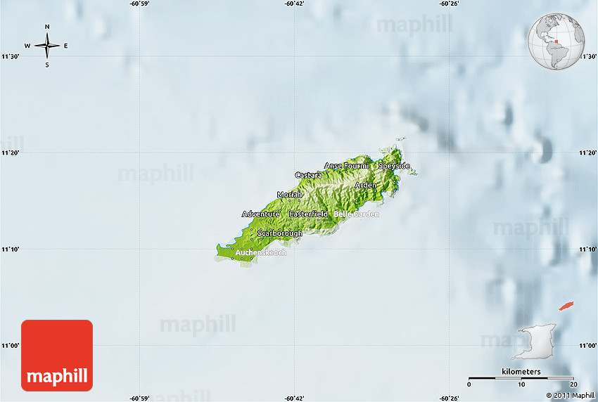 Physical Map of Tobago lighten