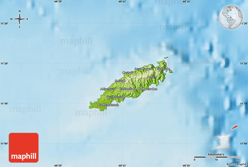 Physical Map of Tobago