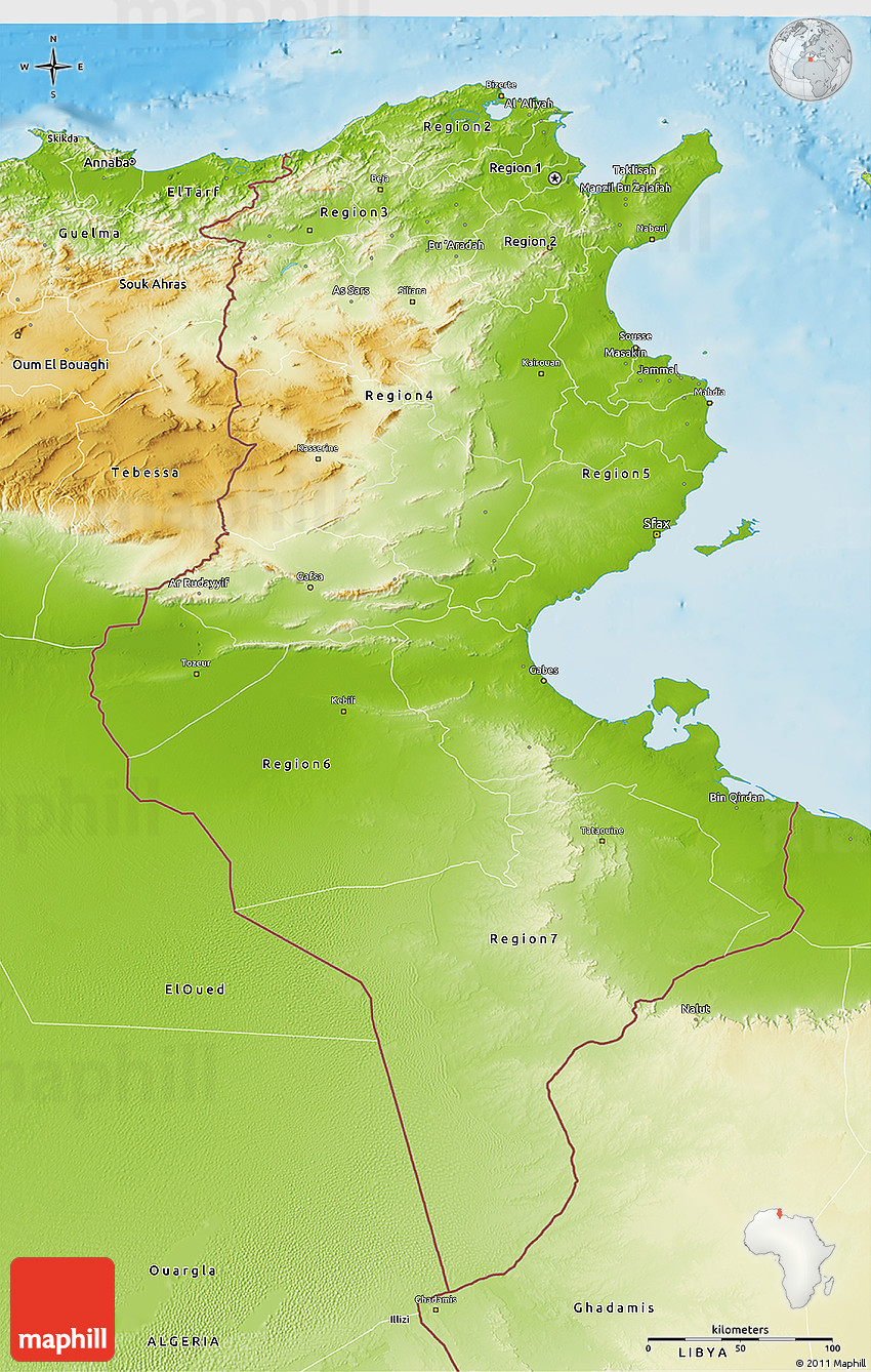 Physical D Map Of Tunisia - Map of tunisia