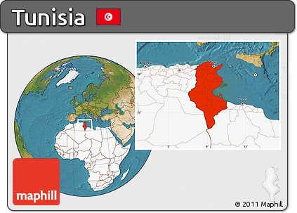 Free Satellite Location Map of Tunisia highlighted continent