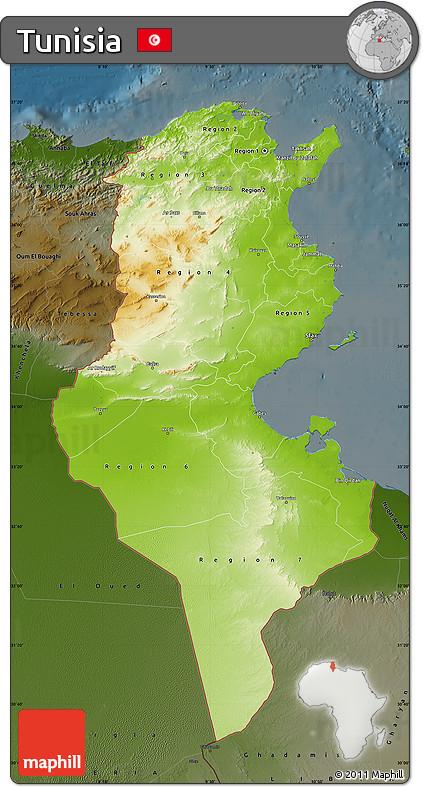 Free Physical Map Of Tunisia Darken - Physical tunisia map