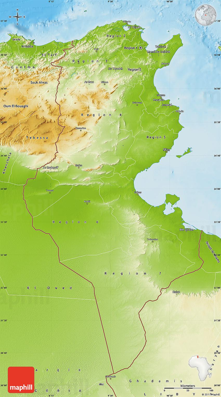 Physical Map Of Tunisia - Physical tunisia map