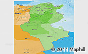 Political Shades Panoramic Map of Tunisia