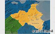 Political Shades 3D Map of Region 1, darken