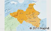 Political Shades 3D Map of Region 1, lighten