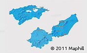 Political Shades 3D Map of Region 2, cropped outside