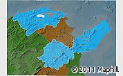Political Shades 3D Map of Region 2, darken