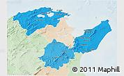 Political Shades 3D Map of Region 2, lighten