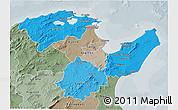 Political Shades 3D Map of Region 2, semi-desaturated