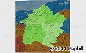 Political Shades 3D Map of Region 3, darken