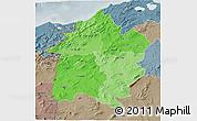 Political Shades 3D Map of Region 3, semi-desaturated