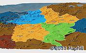 Political Panoramic Map of Region 3, darken