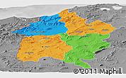 Political Panoramic Map of Region 3, desaturated