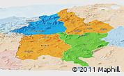 Political Panoramic Map of Region 3, lighten