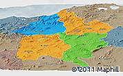 Political Panoramic Map of Region 3, semi-desaturated