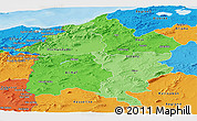 Political Shades Panoramic Map of Region 3