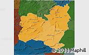 Political Shades 3D Map of Region 4, darken
