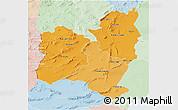 Political Shades 3D Map of Region 4, lighten