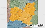 Political Shades 3D Map of Region 4, semi-desaturated
