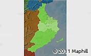 Political Shades 3D Map of Region 5, darken