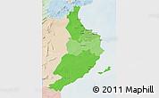 Political Shades 3D Map of Region 5, lighten
