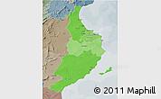 Political Shades 3D Map of Region 5, semi-desaturated
