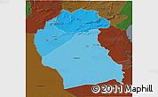 Political Shades 3D Map of Region 6, darken