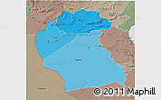 Political Shades 3D Map of Region 6, semi-desaturated