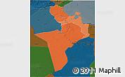Political Shades 3D Map of Region 7, darken