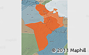 Political Shades 3D Map of Region 7, semi-desaturated