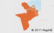 Political Shades 3D Map of Region 7, single color outside