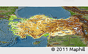 Physical 3D Map of Turkey, darken