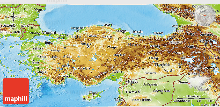 Physical 3D Map of Turkey