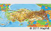 Physical 3D Map of Turkey, political outside, shaded relief sea