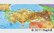 Physical 3D Map of Turkey, political shades outside, shaded relief sea