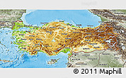Physical 3D Map of Turkey, semi-desaturated, land only