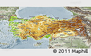 Physical 3D Map of Turkey, semi-desaturated
