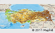 Physical 3D Map of Turkey, shaded relief outside