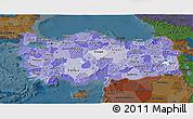 Political Shades 3D Map of Turkey, darken