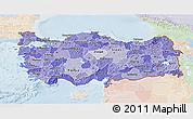 Political Shades 3D Map of Turkey, lighten