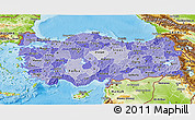 Political Shades 3D Map of Turkey, physical outside