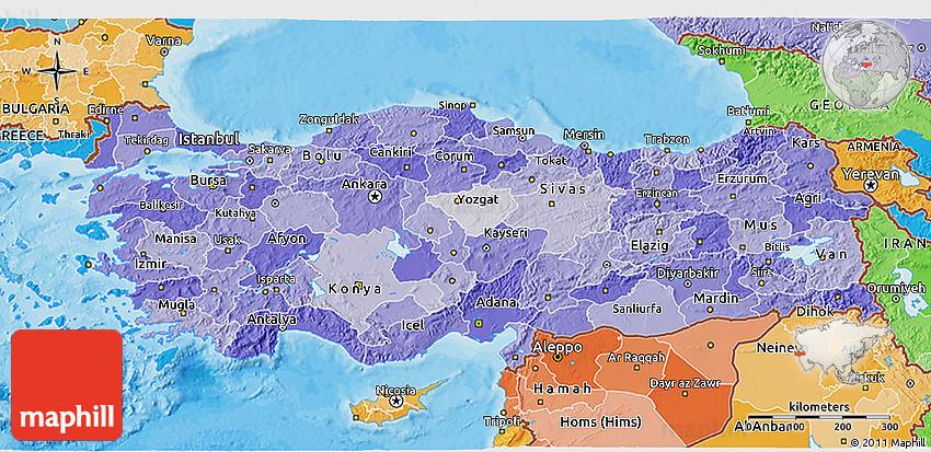 Political Shades 3D Map of Turkey