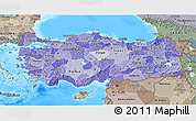 Political Shades 3D Map of Turkey, semi-desaturated, land only