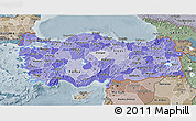 Political Shades 3D Map of Turkey, semi-desaturated