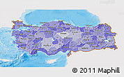 Political Shades 3D Map of Turkey, single color outside